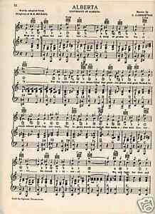 Details about Vtg UNIVERSITY of ALBERTA song- Edmonton, Canada - circa 1938  - Great Grad Gift
