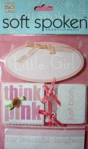 NEW 4 pc LITTLE BABY GIRL Pink Daughter SOFT SPOKEN 3D Embellishments MAMBI