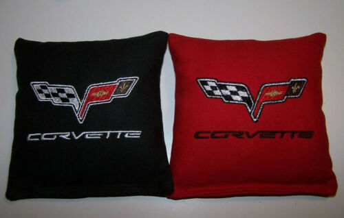 8 Quality Embroidered Cornhole Bags NICE! Corvette 4 Black and 4 Red