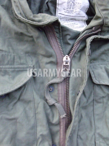 Liner Vintage US Military OD Green Army M-65 Field Coat w Patches