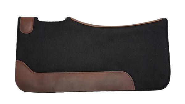Western Sattelpad aus Filz hoher Qualität, Schwarz, mit Neopren