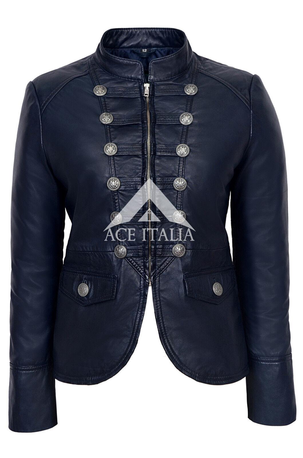 Victoria& 039; & 039; Damas Azul Marino desfile militar  Suave Real Napa chaqueta de cuero 8976  tienda hace compras y ventas