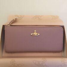 Vivienne Westwood Saffiano Leather Zip Around Purse- Wine pink colour