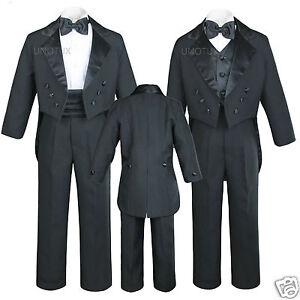 6pc Boy Baby Kid Teen Black Formal Wedding Party Formal Tail Tuxedo Suit sz S-20