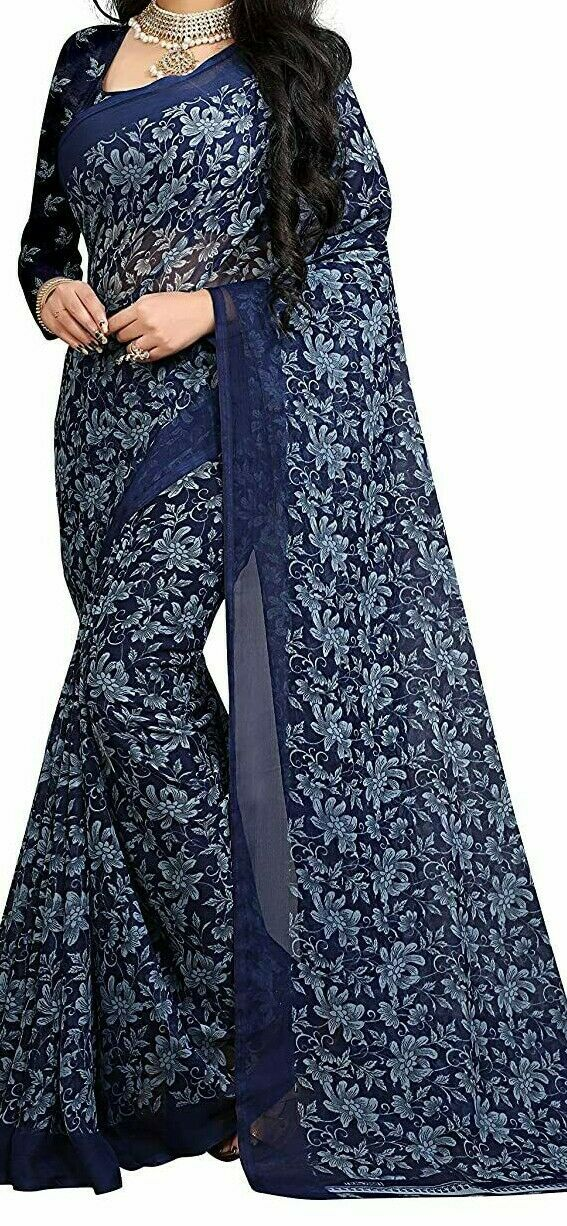 Indian Blue Georgette Floral Printed Saree with Blouse Piece NAS-45