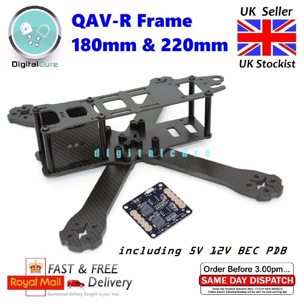 Similar to Lumenier QAV-R 180 & 220 Carbon Fiber FPV Racing Frame w  4mm ARMS