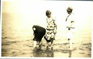 Portrait paddling seaside RPPC postcard antique photograph adorable friends