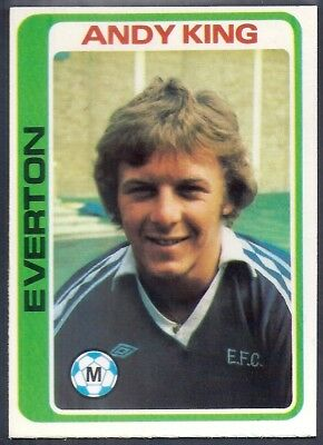 ANDY KING -#268- EVERTON TOPPS-FOOTBALL PALE BLUE BACK 1979