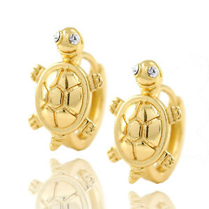 Toddler-girls-kids-14K-Solid-gold-Filled-Cute-Turtle-safety-baby-Hoop-Earrings