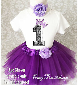 1st Birthday Tutu Outfits.Details About Purple Zebra Crown Princess Baby Girl 1st First Birthday Tutu Outfit Shirt Set