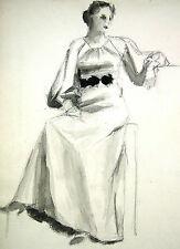 Unbekannt unsigniert / Zeichnung Tusche & Kreide / sitzende Dame in langem Kleid
