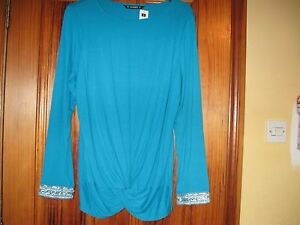 Bright-Blue-Dunnes-Beaded-Top-Size-18-New-with-Tag
