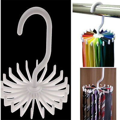 Rotating Tie Belt Rack Adjustable Tie Hanger Holds 20 Neck Ties Closet Organizer