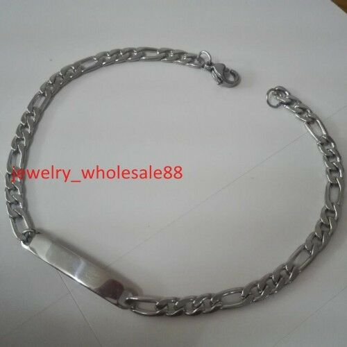 Silver// Gold Stainless Steel figaro Chain ID Bracelet Fashion Women nice Gift