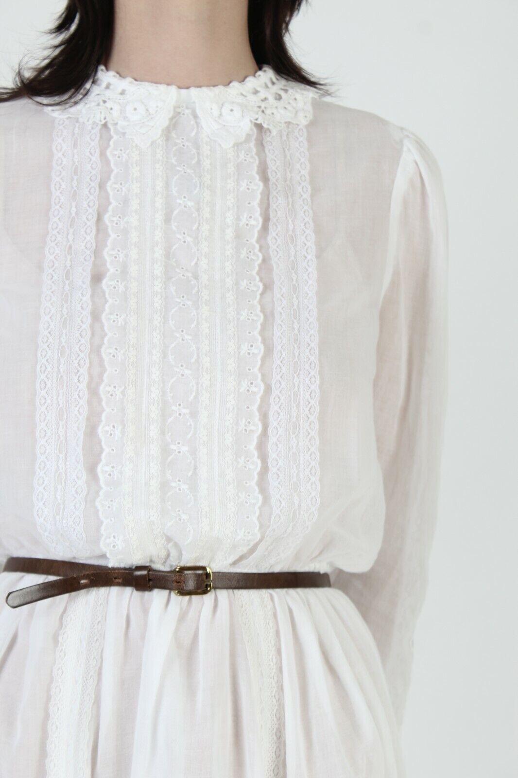 Vintage 70s Gunne Sax Dress Sheer White Crochet L… - image 7