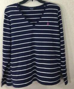 Ralph-Lauren-Sport-Sz-XL-Blue-amp-White-Striped-V-Neck-Top-L-S-Pima-Cotton
