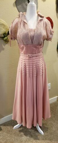 Vintage 1950s Dusty Rose Lace Evening Dress
