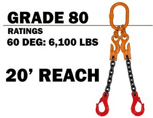 9//32 x 6 Single Leg with Grab and Sling Hook Grade 80 Chain Sling