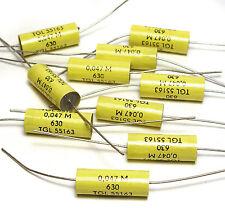 10x Folien-Kondensator, 0.047 µF / 630 VDC, Audio Capacitors for Tube Amps, NOS