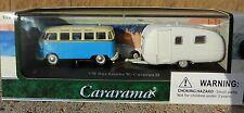 1:72 CARARAMA *VOLKSWAGEN SAMBA BUS w/CARAVAN II Camper Trailer *BLUE* NIB