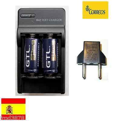 2X PILA RECARGABLE 16340 CR123A LR123A 2000mAh Li-ion 3,6V GTL Litio + cargador2