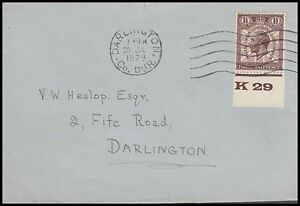 GB 1929 1½d. PUC CONTROL NUMBER ON COVER (ID:281/D33529)