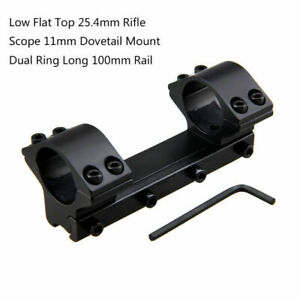 Tactical-25-4mm-Dual-Scope-Ring-Mount-Rifle-Low-Flat-Dovetail-11-20mm-Picatinny