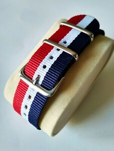 22mm Watch Strap Correa Reloj Nylon Watchband Azul Rojo Blanco Red Blue White Une Grande VariéTé De Marchandises