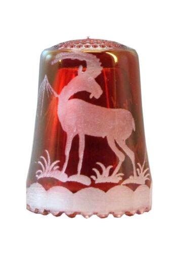 AE 741 Rotlüster mit Gravur Steinbock Fingerhut aus Kristallglas