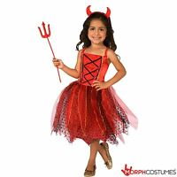 Deluxe Girls Light Up Devil Halloween Fancy Dress Costume Incl Horns Pitchfork