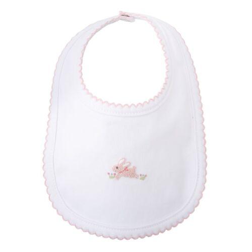 Mud Pie E8 Classic Layette Baby Girl French Knot Pink Bunny Feeding Bib 1552387