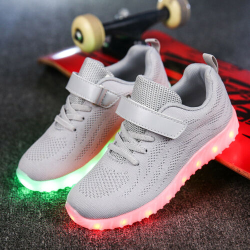 2019 Boy Girl LED Lights Shoes USB Chargable Toddler Baby Kids Sport Shoes Size
