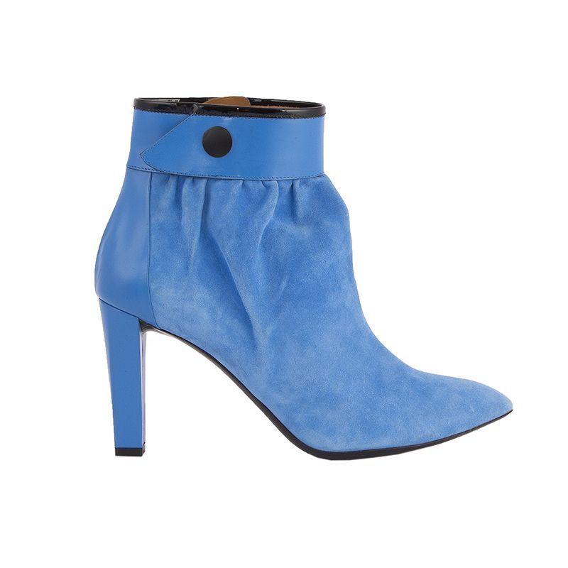 alta qualità generale 53067 auth BALENCIAGA BALENCIAGA BALENCIAGA azur blu suede leather GATHERED Ankle stivali scarpe 41  prezzo basso