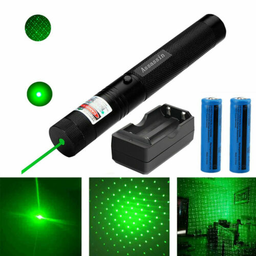 900Miles Ultra Bright Star Green Laser Pointer Lazer+2x Battery+Charger US Stock
