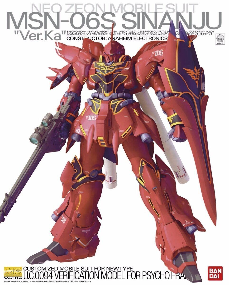 Bandai MG 1 100 Msn-06s Sinanju Versione Ka Modello Plastica Kit Gundam UC Da
