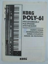 KORG Bedienungsanleitung für POLY-61 original in 4 Sprachen