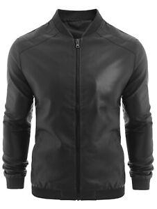 PU-Men-039-S-Leather-Coat-Collar-Cardigan-Zipper-Slim-Jacket-Stitching-Black-2XL