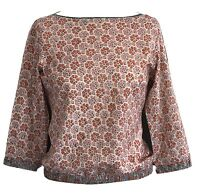 Anokhi Boat Neck Floral Top; 100% Cotton
