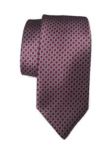 NWOT-Brioni-Tie-Red-Blue-Mini-Squares-100-Silk-Made-in-Italy