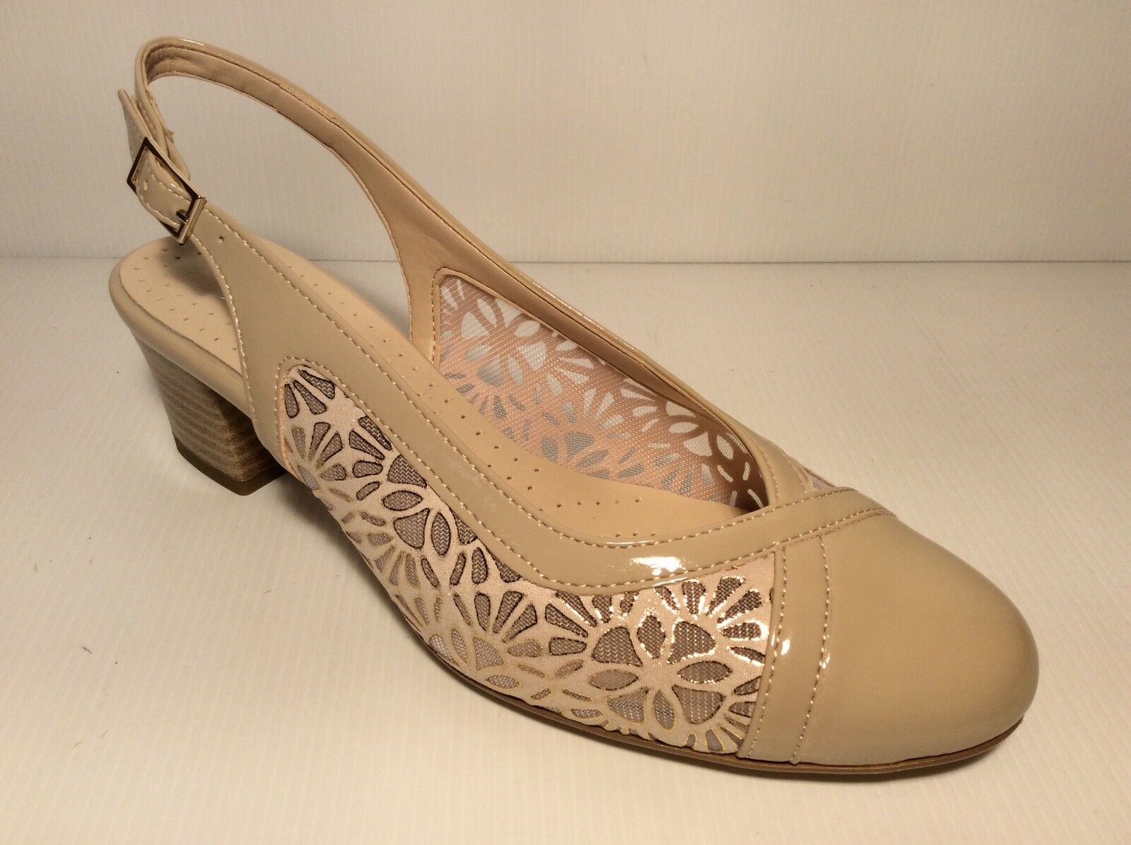 shoes DECOLTE' women MM CONFORT 580 COL BEIGE  MADE IN ITALY TACCO 40