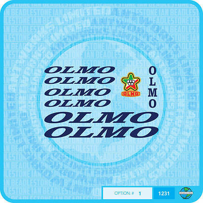 01231 Olmo Bicycle Stickers Transfers Decals Blue