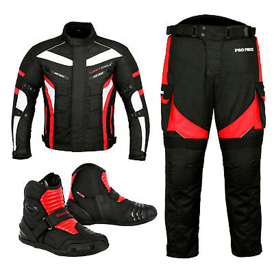 PROFIRST TR-001 Removable Lining Long Length Inside Leg 32 inch Full Black - XS to 4XL Big Pocket Design CE Approved Armoured Motorbike Motorcycle Trouser Pant Waterproof