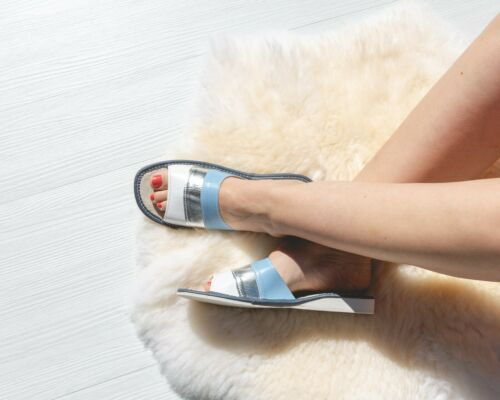 Womens Ladies Slippers Sandals Home Shoes Natural Leather Blue Kapcie ALL SIZES