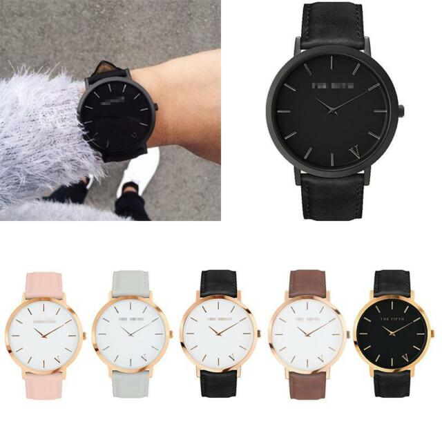 Brand Women Men Casual Quartz Analog Gold Leather Band Wrist Watches