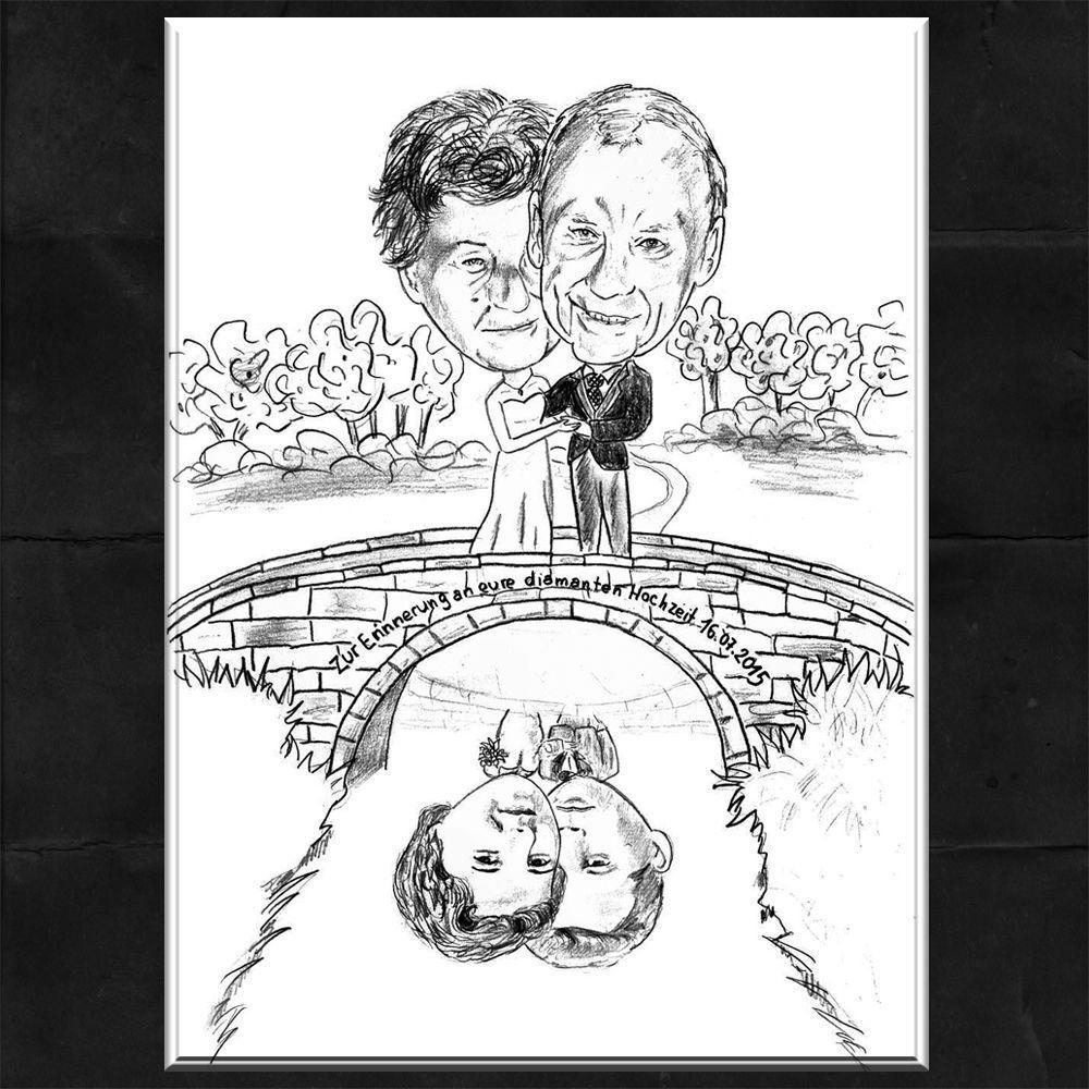 Karikatur vom Foto   Portrait - Goldene   Diamanten   Silber Hochzeit  Geschenk