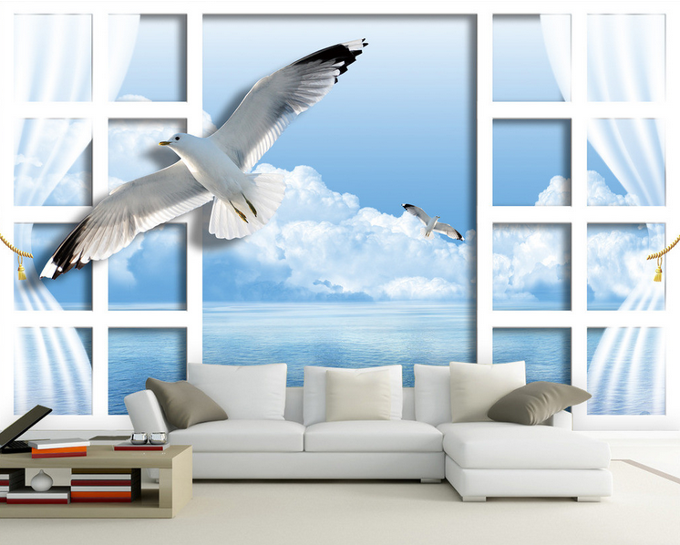 3d Seagull clouds Window 74 Wallpaper Mural Wallpaper Wallpaper Picture Family De