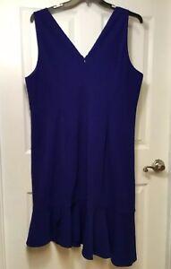Details about Vince Camuto Plus Size 18W Asymmetrical Dress, Blue,  Sleeveless, Hem Ruffle, NEW