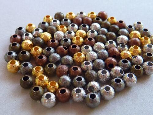 100 Stardust crepé perla spacer entre aproximadamente perla bala Mix mezcla 4 mm 2883