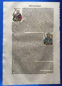 Altkoloriertes Blatt CXXXVII, Schedel Weltchronik 1493, Nürnberg, KÖNIG ATTILA