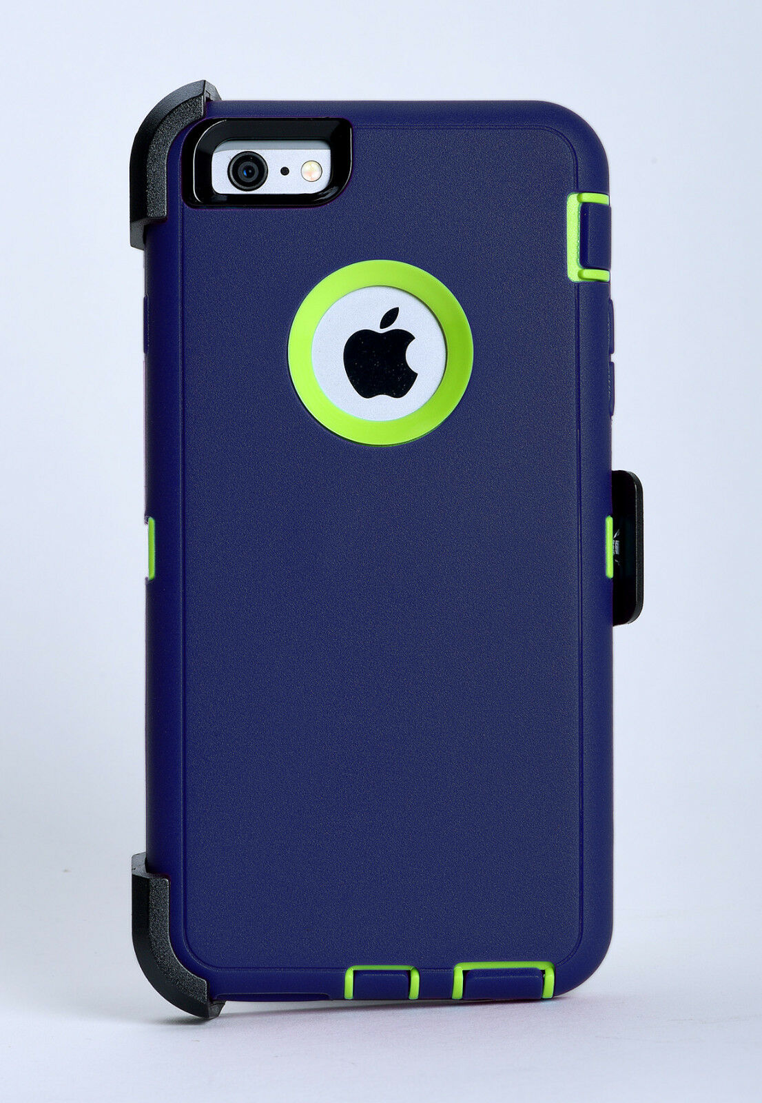 competitive price b64a1 4066f Details about iPhone 6 Plus & iPhone 6s Plus Defender Case w/Holster Belt  Clip Blue/Lime Green